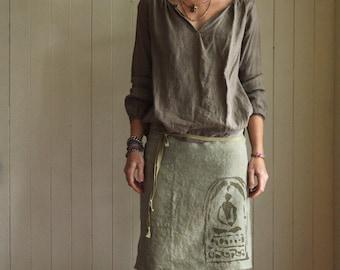 Buddha Half Apron. Cafe Apron. Rustic Apron. Hemp Apron. Linen Apron. Hostess Gift. Gift for Chef. Unisex Apron. Kitchen Apron. Eco Friendly