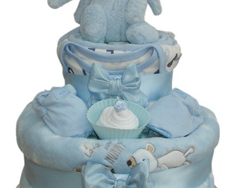 Bashful Bunny Two Tier Blue Plush Nappy Cake Baby Boy - Baby Shower Gift