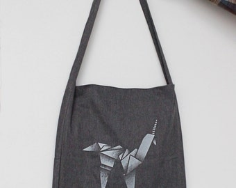 Silver Origami Unicorn Tote Bag, inspired by Blade Runner, 100% recycled fabric, one long handle, great for groceries