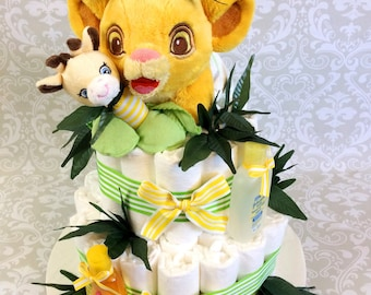 Baby Diaper Jungle themed Lion and Giraffe cake - two tier diaper cake in Neutral - Made to Order