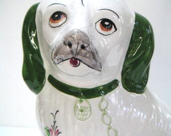 Vintage Ceramic Dog Figurine, Hand Painted,Portugal Reel,Spaniel Dog,Hearth Dog,Fireplace Dog,Ceramic,Home Decor