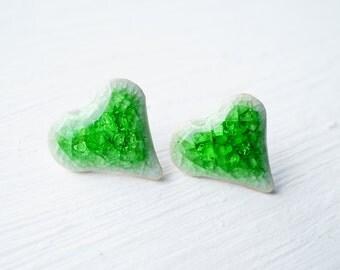 Green Ceramic Heart Stud Earrings