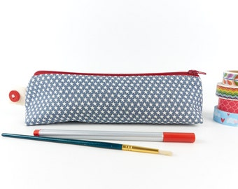 Red, White and Blue Star Pencil Case Boy's Zipper Pouch Cute Gift for Teenager