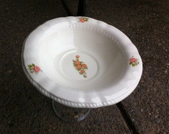VINTAGE CHINA Pedestal Bowl,   Stand with Pink Roses, Garden Bowl, Shabby Charm