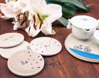 Concrete Coasters- Flock and Flower Series, Birds, Wedding Gift, Housewarming Gift, Functional Art, Gift under 50
