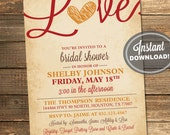 Fall in Love Bridal Shower Invitation, Love, Leaves, Heart, Autumn, Orange, Red, Brown, Rustic, Printable File (Custom, INSTANT DOWNLOAD)