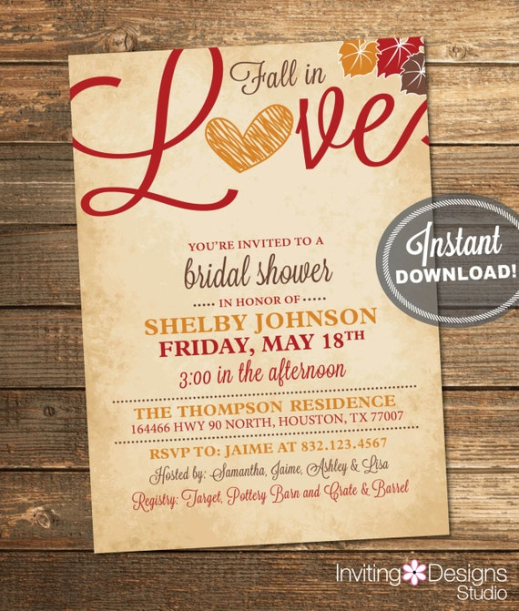 Items similar to Fall in Love Bridal Shower Invitation, Love ...