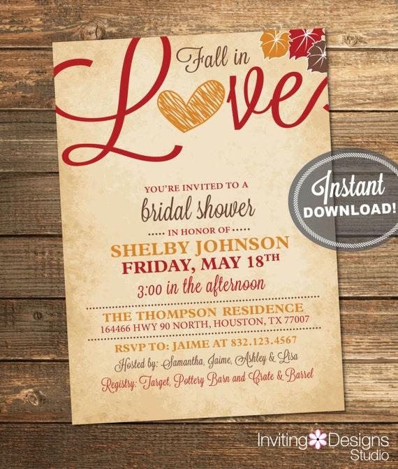 Fall in Love Bridal Shower Invitation Love Leaves Heart – Fall Invitations for Weddings
