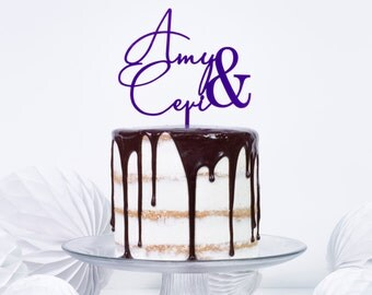 Personalised Couples Name Cake Topper - Wedding Engagement Anniversary Cake Decoration