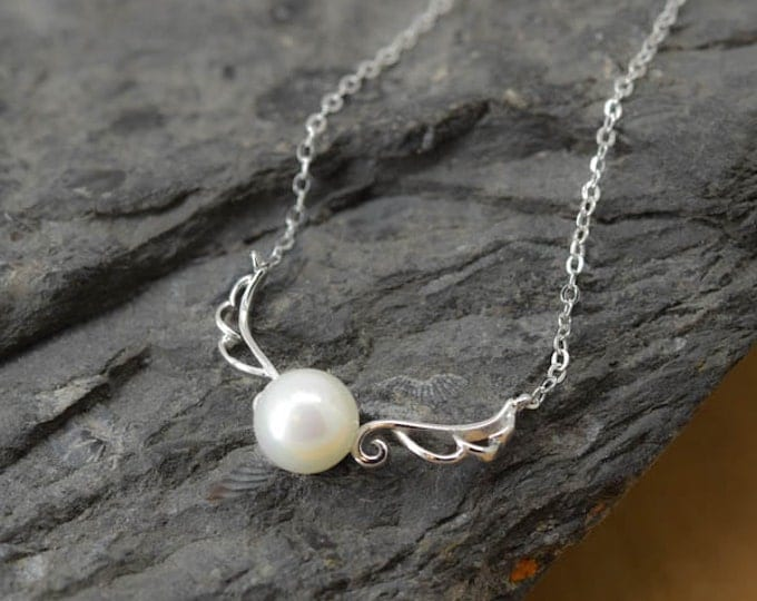 Angel Wings Necklace, Angel Wings Pendant, Pearl Pendant, 925 Sterling Silver, Crystal Necklace Pendant, Bridesmaid Gift,Bridesmaid Necklace