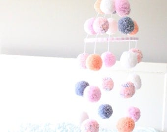 POM POM MOBILE - light pink + peach + grey + white + confetti pom pom mobile - darling baby mobile