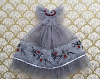 Grey Tulle Embroidered Blythe Dress | Pullip Dress