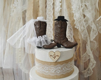 Western Wedding Cake Topper Cowboy Cowgirl Boots Bride Groom Hat Mr Mrs