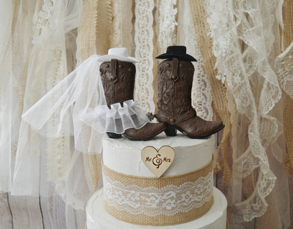 Western Wedding Cake Topper Cowboy Cowgirl Boots