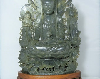 Large Carved Jade Kwan Yin Statue Over 6 pound Piece Sitting Lotus Flower 12 x 8 inches Middle 20th Century Vintage Quality Carving