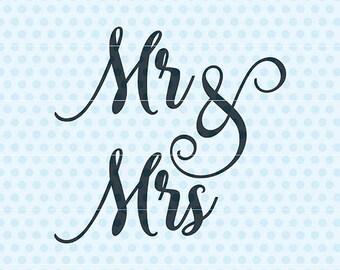 Mr Mrs Svg, Wedding Svg, Marriage Svg, Silhouette, Cricut