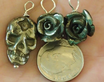 Skulls and Roses carved Pyrite Pendant