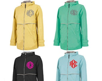 Monogrammed Rain Coat- Monogrammed Women's Rain Jacket - Personalized Charles River Rain Jacket - Ladies Monogrammed Full Zip Raincoat
