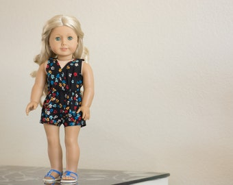 Sale ~ Black Floral Romper ~ Fits 18 Inch Dolls ~ Doll Clothes
