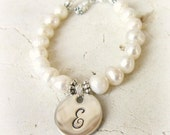 Personalized Baby Pearl Bracelet. Girl's Genuine Pearl Initial Bracelet. Baptism Gift. First Communion Gift. Wedding Flower Girl Jewelry.