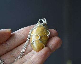 Crazy Lace Agate Necklace, Yellow Agate, Crazy Lace Agate, Agate Jewelry, Natural Agate Stone, Genuine Agate, Tumbled Stones, Wire Wrapped