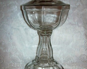 """Antique EAPG Flint Glass Whale Oil Lamp Base 9 3/4"""" Tall Only 28 USD"""