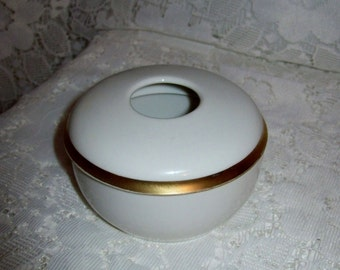 Vintage White Porcelain Hair Receiver w/ Gold Band R S Germany mark Only 7 USD