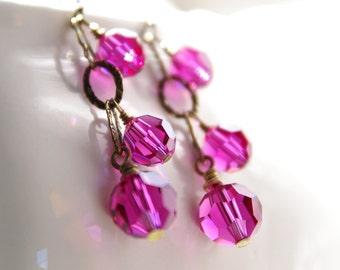 Swarovski Crystal Earrings Fuchsia Brass Dangle Bronze Jewelry Hot Pink Beaded Rustic Bridesmaid Wedding Jewelry Artisan Handmade Earrings