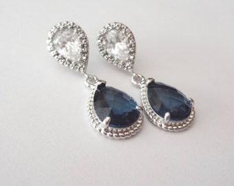 Sapphire blue earrings, Czech glass, Sterling Silver posts, Sapphire blue teardrop earrings, Something blue,Wedding jewelry,Bridesmaids Gift