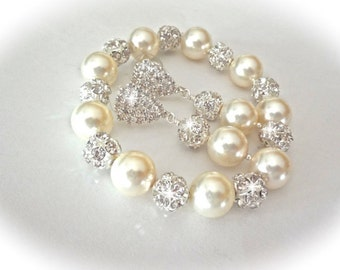 Chunky pearl bracelet and earring set - Bridal jewelry set - Statement jewelry - Swarovski pearls and crystals - LARGE fireballs - LOLITA
