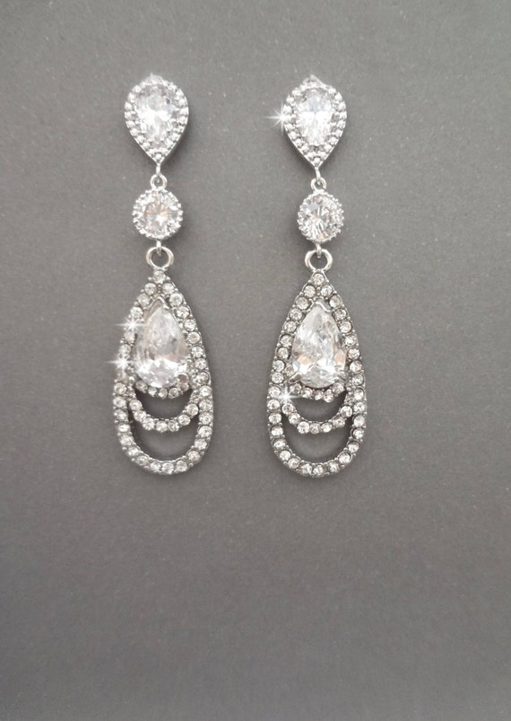 Long Rhinestone Earrings ~ Elegant ~ Brides earrings ~ Sterling silver posts, Bridal Jewelry ~ Bridesmaids earrings, Prom earrings, BECKA