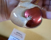 "Hangin On"" By Kitty's Critters"" Mouse on Red Ball/Xmas Ornament/Vintage/NIB/Kitty Cantrell/"