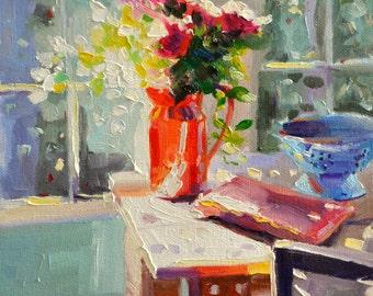 ORANGE JUG, Art Print of Original Oil Painting, ORANGE floral painting