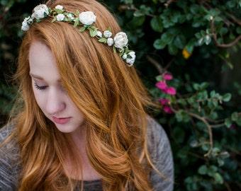 Wedding Floral Crown. Bohemian. spring, Woodland, Flower Hair Crown, Weddings, Bridal, Hair Accessories, bridal hair, bridal crown,