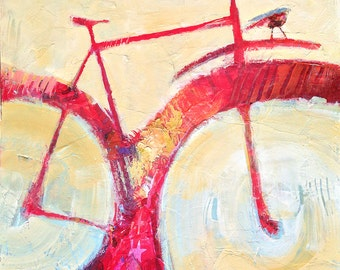 Red Bicycle and Bird, original painting in mixed media