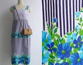 Vintage 70's 'Gardening Class' Striped Floral Midi Day Dress XS or S
