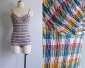 Vintage 30's 40's Shirred Checkered Plaid Low Back Swimsuit XS or S