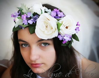 Pippa - mauve and white floral crown. Silk flower crown, hair circlet. Silk roses, lilac and foliage hair accessory.