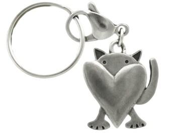 Pewter Peeking Cat Key Chain