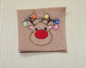 Tangled Christmas Reindeer feltie, Christmas lights tangled Reindeer feltie, embellishment for hair accessories, scrap booking or crafts