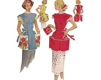Vintage 1950s Easy to Sew Cobbler Apron Pattern McCalls 1713 With Transfer Size 14-16 Bust 32-34  Vintage Sewing Pattern