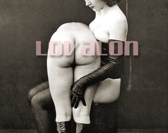MATURE... Whip It... Deluxe Erotic Art Print... 1930's Vintage Nude Fetish Photo... Available In Various Sizes