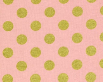 Blush Pink and Gold Quarter Dot Print Michael Miller Fabric - 1/2 yard