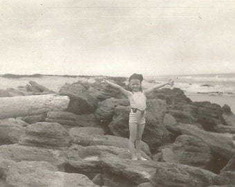 Ta Da! - Vintage Photo - Little Girl with Outstretched Arms - Summer - Beach - Rocky Coast - Snapshot - Found Photo