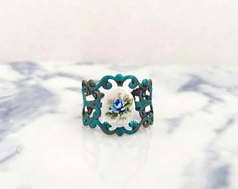 Blue Flower Ring, Patina Ring, Friendship Ring, Flower Girl Jewelry, Bridesmaid Gift Ring, Statement Ring, Adjustable Ring
