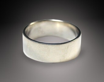 Men's Silver Wedding Ring-- Wide Band--7mm wide Flat Edge Solid Sterling Silver Band Custom made in YOUR size