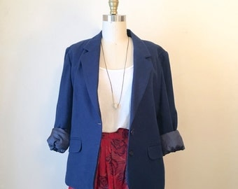 Vintage Women's Blue Blazer, Size Medium-Large