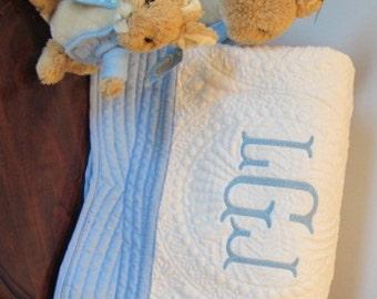 Monogrammed Baby Quilt, Baby Blanket, Personalized baby quilt, white with blue trim baby quilt, Blue and white baby quilt, Baby Quilt