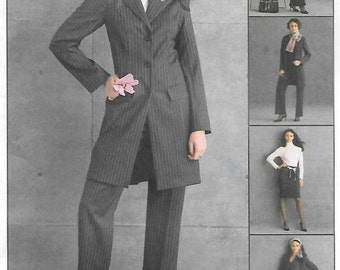 Womens Wardrobe Pattern Jacket Vest Skirt Pants Office Attire, Suit Pattern, McCalls M4601 Sewing Pattern Size 6-8-10-12 Bust 30.5-34 UNCUT