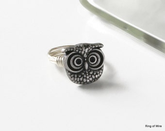 Owl Button Ring, Silver Button Ring, Silver Owl Ring, Wire Wrapped Ring, Button Jewelry, Whimsical Owl Ring, Metal Button Ring, Owl Ring